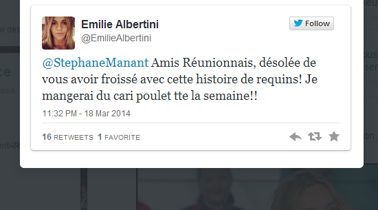 crise requin emilie albertinie s'excuse direct8